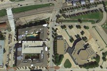 The development is only 300 feet (91 m) from the Downtown Garland DART light-rail station. (GoogleEarth)